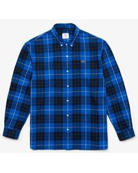 Lacoste Navy Live Boxy Fit Check Flannel Shirt - Blue