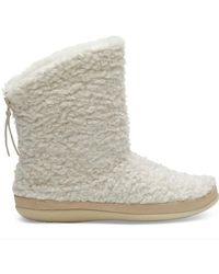 TOMS Natural Faux Fur Slipper Boots - Multicolour