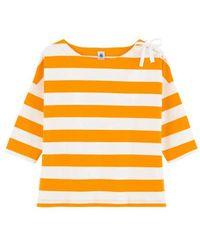 Petit Bateau Top de rayas amarillas para mujer con lazo - Amarillo