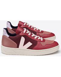 Veja V-10 Pixel Multico Burgundy Lilas Shoes - Red