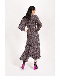 Essentiel Antwerp Vip Black Floral Print Wrap Maxi Dress - Multicolour