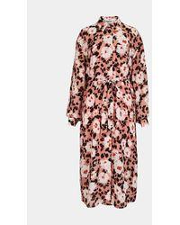 Essentiel Antwerp - Vestido camisero estampado floral rosa - Lyst