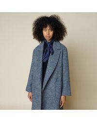 Folk Robe Twill Coat Blue Melange Made