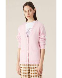 Ganni Pink Wool Knit Cardigan