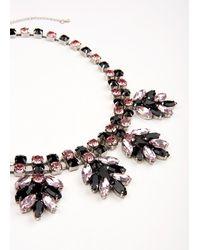 Essentiel Antwerp Black And Pink Rhinestone Necklace - Multicolour