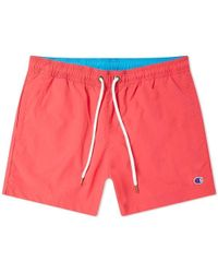 Champion Reverse Weave Classic Swim Short Fluro Pink And Ocean Blue