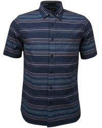 Pendleton Camisa Kay Street Ss Indigo Stripe - Azul