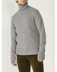 Oliver Spencer Talbot Cable Roll Neck in grigio