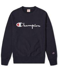 Champion Sweat-shirt en coton bleu marine 210975-NNY avec logo script