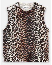 Ganni Knitted Vest In Leopard Print - Multicolor