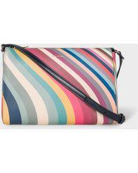 Paul Smith Bolso bandolera de cuero con estampado Spring Swirl - Multicolor