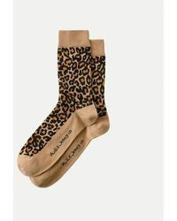 Nudie Jeans Olsson Beige And Leopard Organic Cotton High Socks - Natural