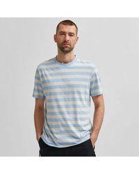 SELECTED Light Blue Striped Organic Cotton Tee Shirt