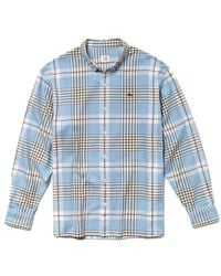 Lacoste Camisa de popelina a cuadros Live Boxy Fit - Azul