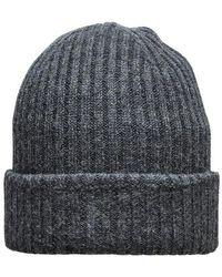 SELECTED Merino Wool Beanie Dark Gray