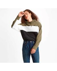 Levi's Wavy Color Block Hooded Sweatshirt Olive Black