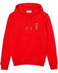 Lacoste X Polaroid Cotton Fleece Hoodie Sweatshirt Red - Rojo
