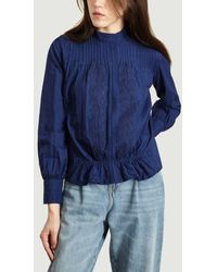 Sessun Olympia Embroidered Cotton Blouse - Blue