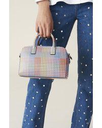Ganni Leather Grid Top Handle Bag Multicolor