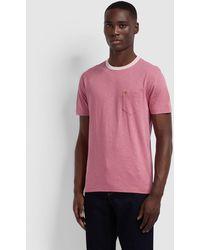 Farah Groove Contrast Collar Rose Pink T-shirt