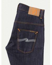 Nudie Jeans Thin Finn Dry Ecru Embo L32 - Blue