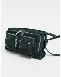 Nunoo Bolso de ante de piedra verde con bolsillos con cremallera