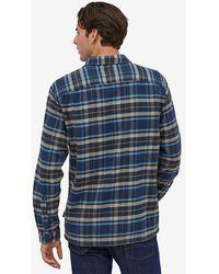 Patagonia Fjord Organic Cotton Flanell Navy Check Shirt - Blau