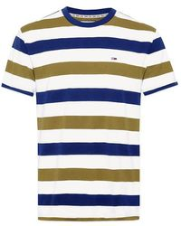 Tommy Hilfiger - Maglietta Tommy Jeans a righe bianco oliva - Lyst
