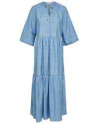SELECTED Ruffled Maxi Dress - Blue