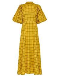 SELECTED Robe longue à carreaux et manches bouffantes - Jaune