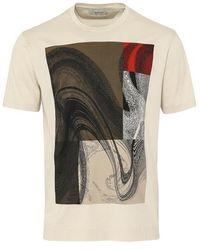 Z Zegna Mercerised Art Design T Shirt Beige - Natural