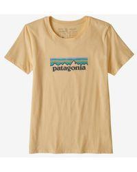 Patagonia Light Yellow Camiseta Ws Pastel P 6 Logo Organic Crew Vela Peach - Multicolour