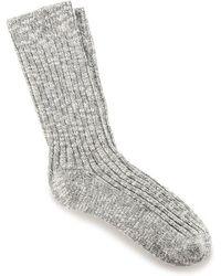 Birkenstock Gray White Cotton Slub Socks