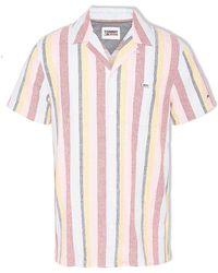 Tommy Hilfiger Camicia a maniche corte da campo a righe (Iris rugiadoso / Multicolore) - Rosa