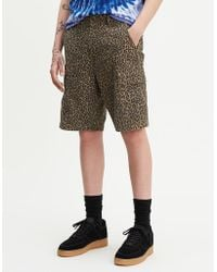 Levi's Brown Cotton Patchy Cheetah Hallo Ball Cargo Shorts - Braun