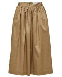 SELECTED - Mid Waist Organic Cotton Skirt Kelp - Lyst