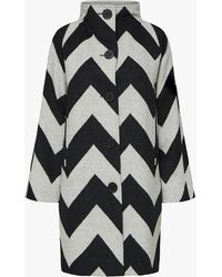 SELECTED Chevron Coat - Black