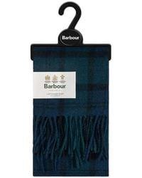 Barbour Echarpe en laine d'agneau tartan noire - Bleu
