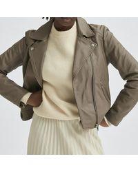 SELECTED Giacca di pelle Katie Grigia - Multicolore