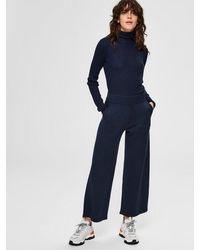 SELECTED Knitted Trousers Dark Sapphire - Blue
