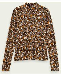 Maison Scotch T-shirt floreale a maniche lunghe con collo alto floreale - Multicolore