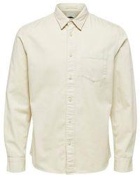 SELECTED Jeppe Over Shirt Bone Blanco