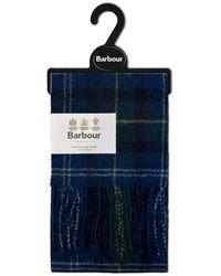 Barbour Seaweed Tartan Lambswool Scarf - Blue