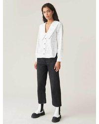 Ganni Camisa De Popelina De Algodón Estampado Con Cuello En V Blanco Brillante