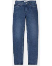 Carhartt W Page Carrot Pant Blue Dark Stone Wash - Bleu