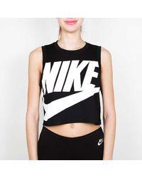 Nike Débardeur Femme Noir et Blanc Essential Crop HBR