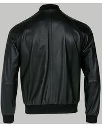 Brioni Black Leather Bomber Jacket
