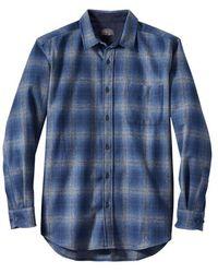 Pendleton Camisa Lodge Check L S Azul Marino Gris Ombre