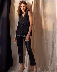 Velvet By Graham & Spencer Pantalon en similicuir noir miel velours