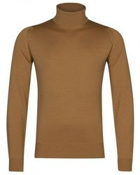 John Smedley Pullover Connell Roll Neck - Marrone